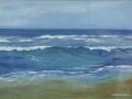 JH11- Julie Herring.  Calmly Reaching Shore. Acrylic on board. 44 x 54cm framed. Frame: Limed oak, glaze. £350