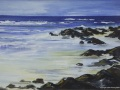 JH02- Julie Herring.  Whitsand Bay, Cornwall II. Acrylic on board. 45 x 55.5cm framed. Frame: Limed oak, glazed. £350