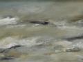 JH05- Julie Herring.  Turning Tide. Acrylic on canvas. 43 x 73cm framed. Frame: White, unglazed. £450