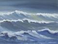 JH09- Julie Herring.  Night Waves. Acrylic on board. 43.5 x 53cm framed. Frame: Limed oak, glazed. £350. Reserved