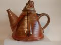 Mirka Golden-Hann teapot, hand decorated with twisted lid